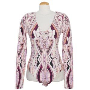 Pick A Place Stretch Cotton Paisley Bodysuit XS
